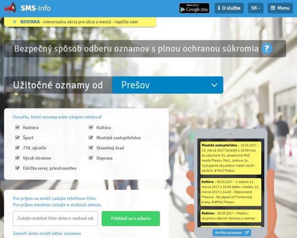 23329bee2 Mesto Prešov rozširuje svoje on-line služby pre verejnosť. Spúšťa sa nová  služba informovania prostredníctvom mobilnej aplikácie, e-mailov či SMS  správ.
