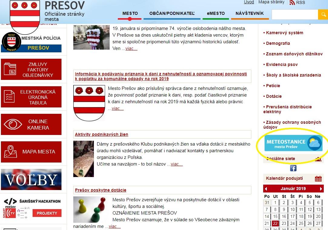 b07d3c8a7 Odkaz na meteostanice na stránke mesta Prešov